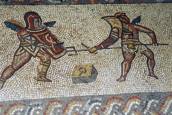 Roman floor mosaic of gladiators, c.3rd century. Artist: Unknown-Unknown-Giclee Print