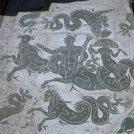 Roman floor mosaic showing Neptune, 3rd century. Artist: Unknown-Unknown-Giclee Print