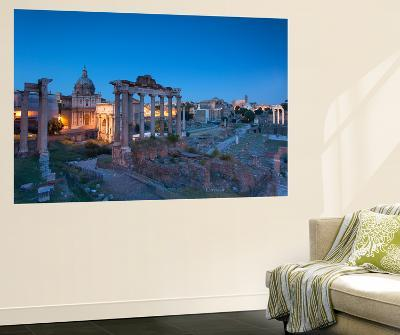 Roman Forum (Unesco World Heritage Site) at Dusk, Rome, Lazio, Italy-Ian Trower-Wall Mural