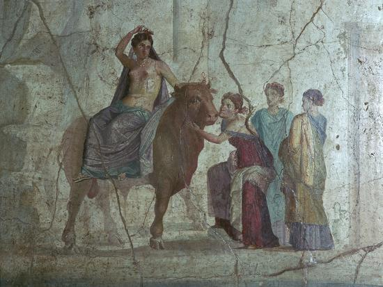 Roman fresco of Europa and the bull. Artist: Unknown-Unknown-Giclee Print