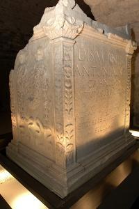 Roman Funerary Altar, Criptoportico Forensics Forum, Aosta, Valle D' Aosta, Italy