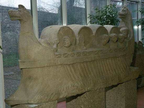 Roman funerary sculpture of a wine-boat. Artist: Unknown-Unknown-Giclee Print