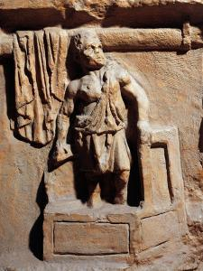 Roman Funerary Stele Relief Depicting Laundry, Detail Representing Laundryman Standing in Washtub