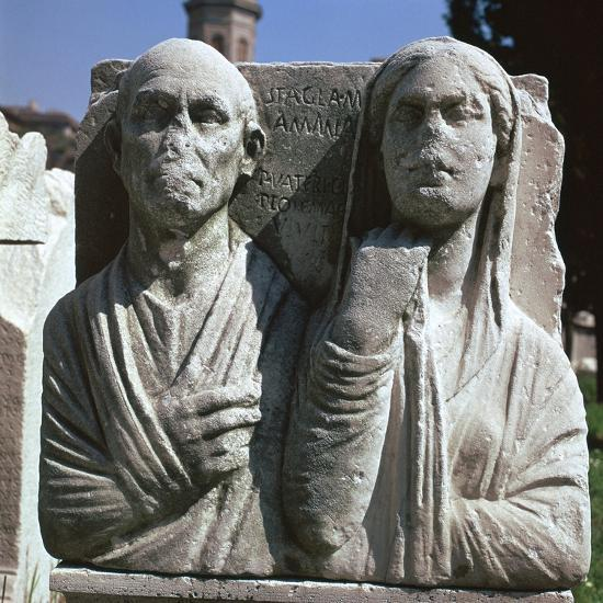 Roman grave-slab with a husband and wife. Artist: Unknown-Unknown-Giclee Print