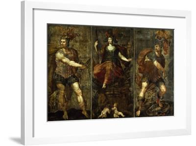 Roman Heroes, Rome Surrounded by Muzio Scaevola and Titus Manlius Torquatus, Leather Panel Painting--Framed Giclee Print