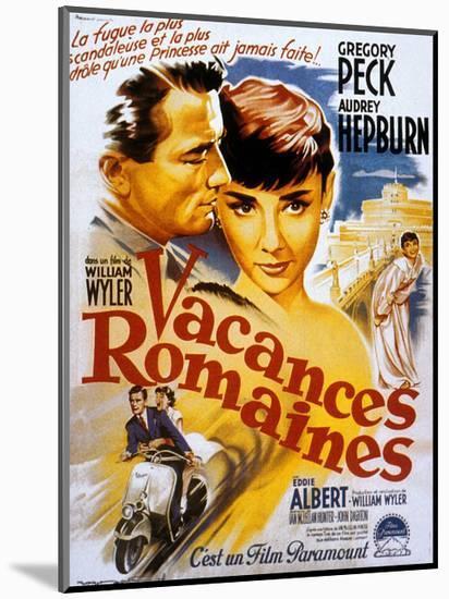 Roman Holiday, Audrey Hepburn, Gregory Peck, 1953--Mounted Premium Giclee Print