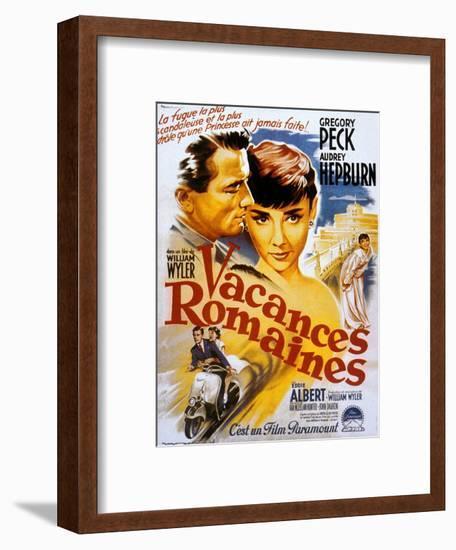 Roman Holiday, Audrey Hepburn, Gregory Peck, 1953--Framed Premium Giclee Print