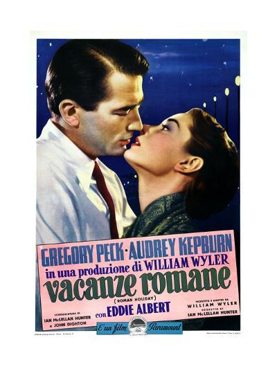 Roman Holiday, Left to Right: Gregory Peck, Audrey Hepburn on Italian Poster Art, 1953--Giclee Print