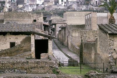 Roman Houses of Herculaneum with the Modern Houses of Ercolano Above, Italy-CM Dixon-Photographic Print