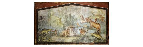 Roman Life on the River Nile Egypt, Fresco from temple of Bacchus at Pompeii 55-79 BC--Giclee Print