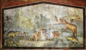 Roman Life on the River Nile Egypt, Fresco from temple of Bacchus at Pompeii 55-79 BC