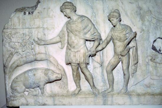 Roman marble relief of Aeneas and Ascanius. Artist: Unknown-Unknown-Giclee Print