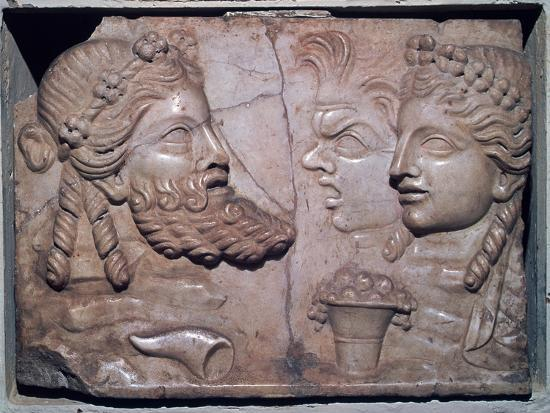 Roman marble relief of dramatic masks. Artist: Unknown-Unknown-Giclee Print