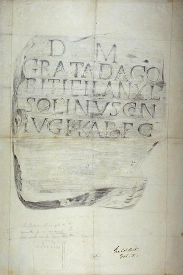Roman Memorial Stone Erected by Solinus in Memory of His Wife Grata, 1875--Giclee Print