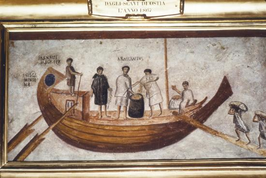 Roman Merchant-ship being loaded with grain, from a wall painting in Ostia, 2nd-3rd century-Unknown-Giclee Print