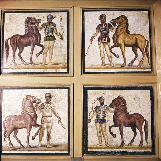 Roman Mosaic, Charioteers wearing Racing Colours of their sponsors, 1st-3rd century-Unknown-Giclee Print