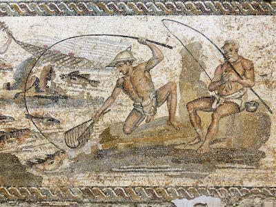 Roman Mosaic Dating from the 2 AD, from the Villa of the Nile at Leptis Magna, Tripoli, Libya-Rennie Christopher-Photographic Print