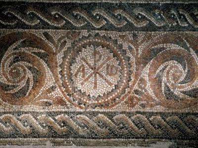 Roman Mosaic Depicting the Chi-Rho Symbol with Alpha and Omega, Spain