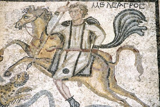 Roman mosaic from Carthage, Horseman hunts leopard, c3rd century-Unknown-Giclee Print
