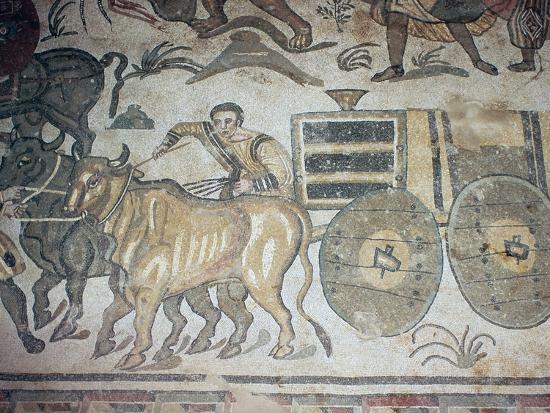 Roman mosaic of a bullock cart, 3rd century-Unknown-Giclee Print