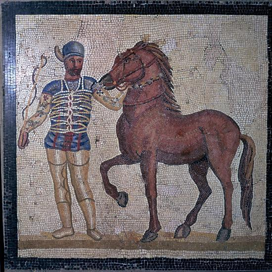 Roman mosaic of a charioteer, 1st century. Artist: Unknown-Unknown-Giclee Print