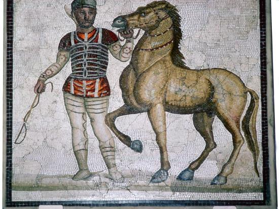 Roman mosaic of a charioteer with horse. Artist: Unknown-Unknown-Giclee Print