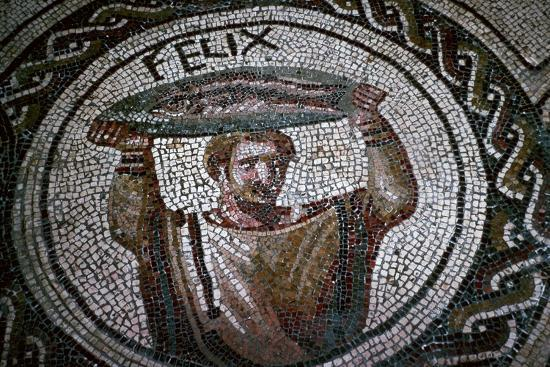 Roman mosaic of a man carrying fish-Unknown-Giclee Print
