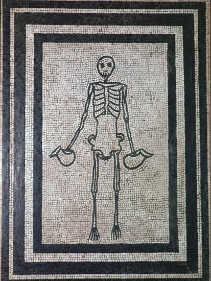 Roman mosaic of a skeleton, 1st century. Artist: Unknown-Unknown-Giclee Print