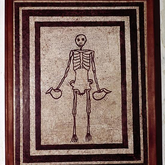 Roman mosaic of a skeleton, Pompeii, Italy. Artist: Unknown-Unknown-Giclee Print
