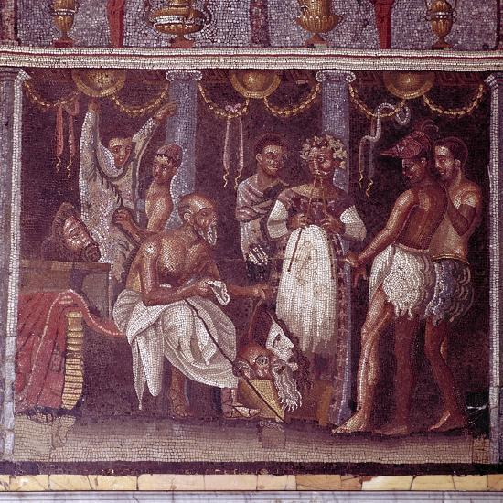 Roman mosaic of actors preparing for a play, Pompeii, Italy. Artist: Unknown-Unknown-Giclee Print