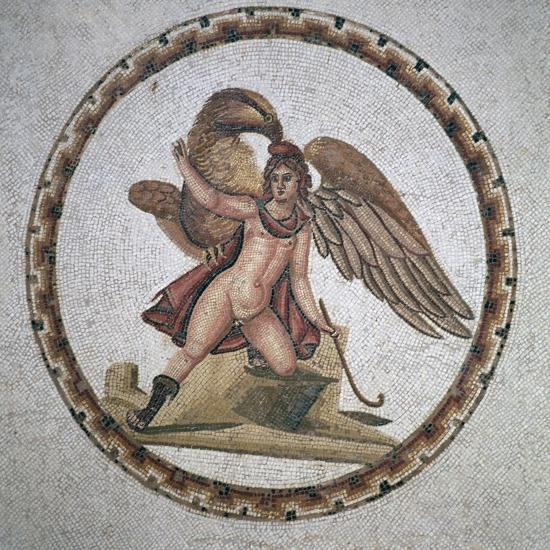 Roman mosaic of Ganymede and Zeus, 3rd century. Artist: Unknown-Unknown-Giclee Print