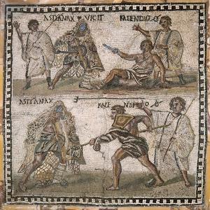 Roman Mosaic of Gladiators, 3rd C