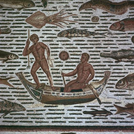 Roman mosaic of men fishing, 2nd century. Artist: Unknown-Unknown-Giclee Print