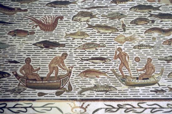 Roman mosaic of men fishing from boats, 2nd century BC. Artist: Unknown-Unknown-Giclee Print