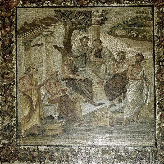 Roman mosaic of Plato and his school of philosophers, Pompeii, Italy. Artist: Unknown-Unknown-Giclee Print