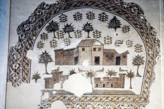 Roman Mosaic of Roman Villa with trees and vines, c3rd century-Unknown-Giclee Print