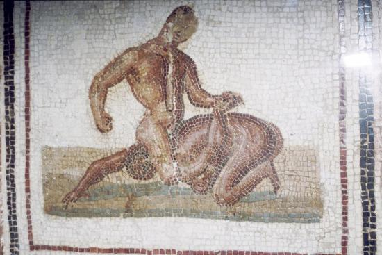 Roman Mosaic of Wrestlers, c2nd-3rd century-Unknown-Giclee Print