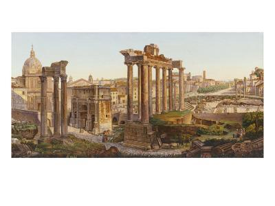 Roman Mosaic Table-Top, Temples of Castor and Pollux in the Roman Forum--Giclee Print