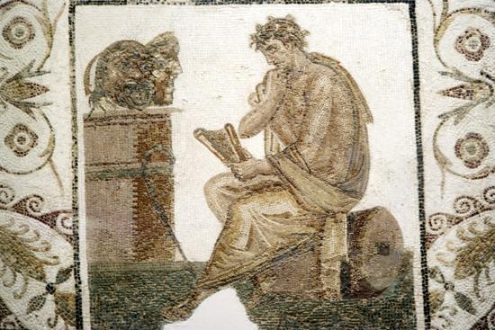 Roman Mosaic, Tragic Poet and Two Masks from Thuburbo Majus, Tunisia, 3rd century-Unknown-Giclee Print