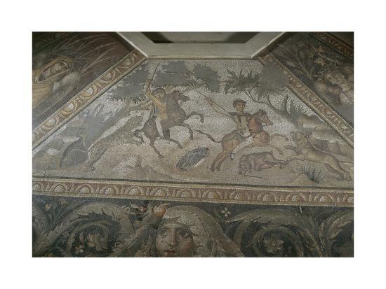 Roman Mosaic with Scene of Wild Beasts Hunt, from Antakya--Giclee Print