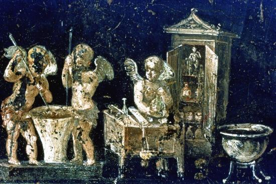 Roman mural, House of the Vettii, Pompeii, Italy. Artist: Unknown-Unknown-Giclee Print