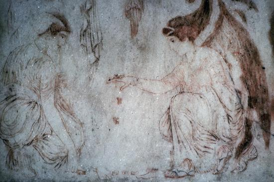 Roman painting on marble of ladies playing knucklebones. Artist: Unknown-Unknown-Giclee Print