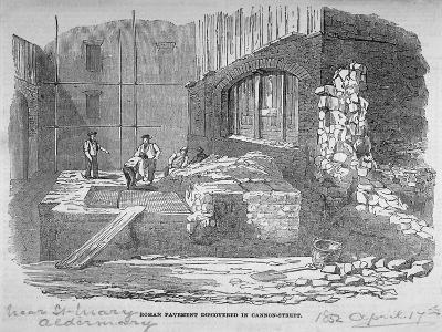 Roman Pavement Disovered in Cannon Street, City of London, 1852--Giclee Print