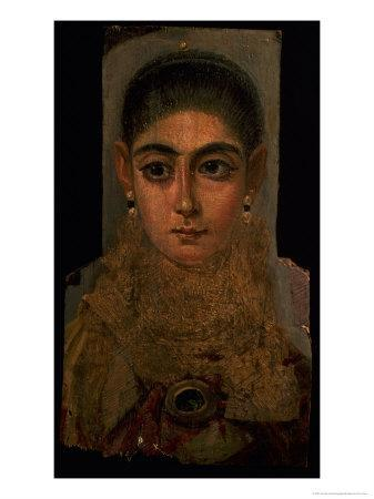 Portrait of a Woman Wearing a Gold Pectoral, Tomb Decoration, from Fayum, 120-130 AD