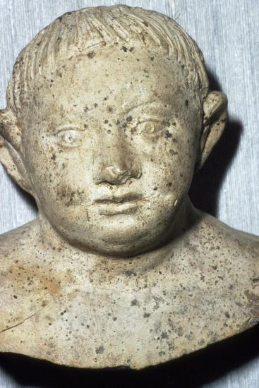 Roman Pipeclay Head of Child from Roman grave at Colchester, Essex, c2nd-3rd century-Unknown-Giclee Print