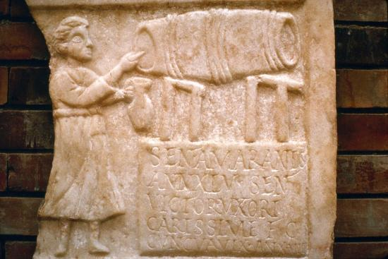 Roman relief, a woman draws wine from a cask at a Tavern, Merida, Spain, c2nd-3rd century-Unknown-Giclee Print