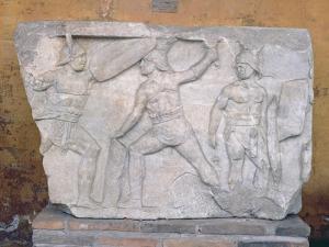Relief Depicting Gladiators in Combat by Roman