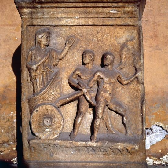 Roman relief, Kleobis and Biton draw their mother by chariot, c1st-3rd century-Unknown-Giclee Print