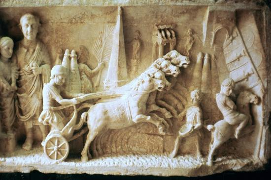 Roman relief of a chariot race. Artist: Unknown-Unknown-Giclee Print