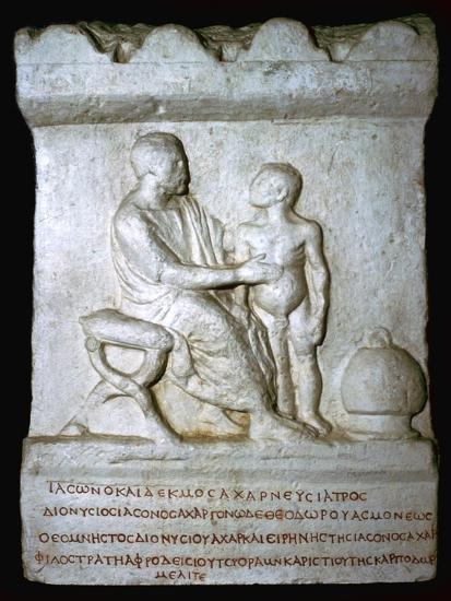 Roman relief of a doctor inspecting a youth. Artist: Unknown-Unknown-Giclee Print
